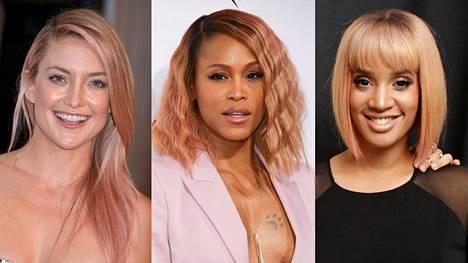 Näyttelijät Kate Hudson ja Dascha Polanco sekä rap-artisti Eve ovat kokeilleet ruusukultaisia hiuksia.
