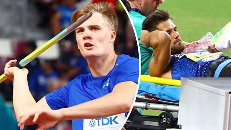 Oliver Helander (vas.) näki Magnus Kirtin loukkaantumisen Dohan MM-lehtereiltä.