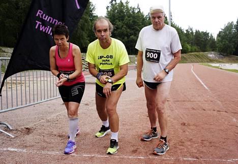 Ritva Vallivaara-Pasto, Tage Lemström ja Kalevi Saukkonen juoksivat kaikki yli sata maratonia vuonna 2014.