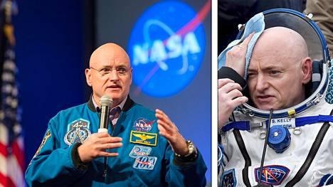 Kuva oikealla: Astronautti Scott Kelly laskeutui avaruudesta Kazakstaniin 2. maaliskuuta 2016. Kuva vasemmalla: Kelly kertoi kokemuksistaan Nasan pääkonttorissa Washingtonissa toukokuussa 2016.