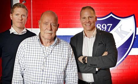 """Salmelaisen suku on yksi HIFK:n historian tunnetuimpia. Isä Tommi """"Buffalo"""" Salmelainen varattiin aikoinaan ensimmäisenä suomalaisena NHL:ään (v. 1969), Tony (oik.) on entinen NHL-pelaaja ja Tobias seuran nykyinen urheilujohtaja."""
