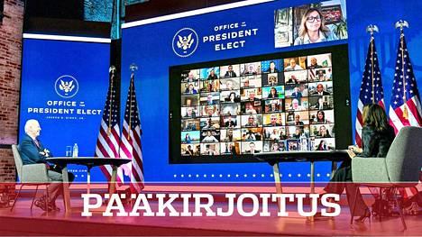 Presidentinvaalien voittajille Joe Bidenille ja Kamala Harrisille kertyy kovia paineita tammikuuksi. Kuvassa Biden ja Harris videokonferenssissa 23. marraskuuta.
