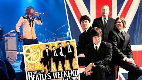 Beatles-viikonlopun tähtiä ovat amerikkalainen Jay Goeppner (vas) ja kotimainen Jiri Nikkinen The Beatles Tribute Band.