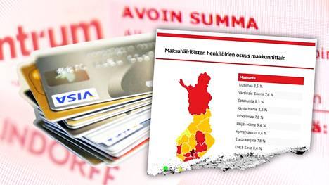 Keskimäärin suomalaisista 8,5 prosentilla on maksuhäiriömerkintä.