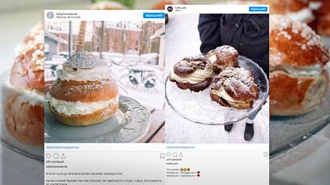 Tamperelaisen ja pietarsaarelaisen kahvilan laskiaispullat herättävät huomiota jo ulkonäöllään.