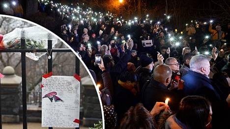 Järkyttyneet ihmiset kokoontuivat Tessa Majorsin surmapaikalle joulukuussa 2019.