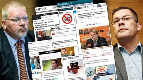 Johan Bäckmanin (kuvassa vas.) ja Ilja Janitskinin (oik.) rikostuomiot nousivat uutisotsikoihin myös Venäjällä, mutta yksikään johtava venäläinen uutistoimisto tai valtiollinen tv-kanava ei ole kertonut tuomioista toistaiseksi.
