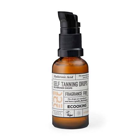 Ecooking Self Tanning Drops -tippojen ruskettava aine tulee sokeriruo'osta. Mukana on myös kosteuttavaa hyaluronihappoa, 24,90 € / 30 ml.