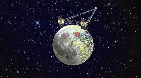 Nasa mittaa, miten Kuun painovoimakentän vaihtelut vaikuttavat luotainten nopeuteen ja etäisyyteen toisistaan.