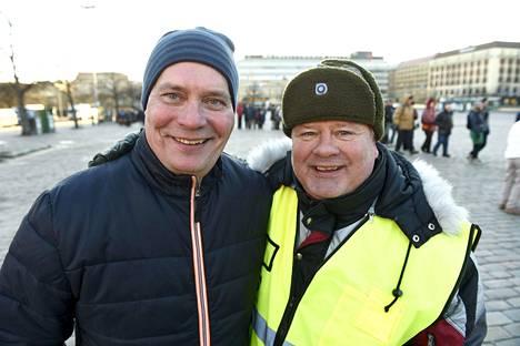 Sdp:n puheenjohtaja Antti Rinne (vas.) ja Heikki Hursti.