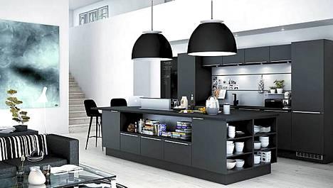 Musta ja tummanharmaa ovat trendivärejä keittiökalusteissa. Avarassa tilassa toimii hyvin avokeittiö saarekkeineen. Isokokoiseen saarekkeeseen sopii avohyllyjä sekä laatikoita sivuihin. Kuvassa HTH Keittiön uusi mallisto KP Mono.