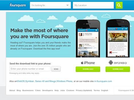 Foursquare  toimii  iOS-, Android- ja Windows Phone -puhelimissa. Se tukee myös Nokian Symbian, Series 40 ja Meego -käyttöjärjestelmiä.