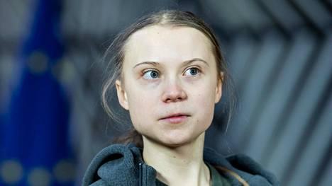Ruotsalainen ilmastoaktivisti Greta Thunberg saapui EU:n ympäristöministerien kokoukseen Brysselissä 5. maaliskuuta 2020.