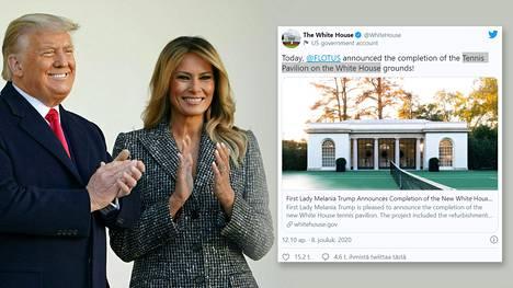Donald Trumpin vaimo Melania ilmoitti tenniskentän remontin valmistuneen Valkoisessa talossa.
