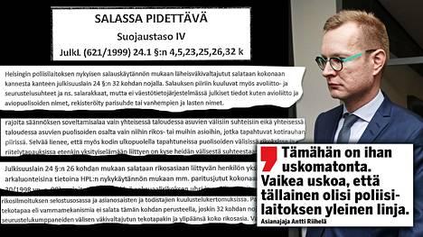 Helsingin poliisi leimasi oman lausuntonsakin salaiseksi. – Tämähän on ihan uskomatonta, asianajaja Antti Riihelä kommentoi Helsingin poliisin salassapitolinjausta käräjäoikeudessa maanantaina.