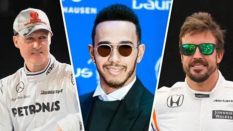 F1-kuskien ansiolistan kolmen kärki: Lewis Hamilton (keskellä) johtaa. Perintöprinsseinä Michael Schumacher (vas.) ja Fernando Alonso (oik.).