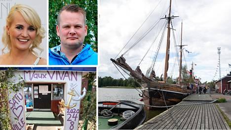 Satu Taiveaho ja Ville Virtanen menivät naimisiin Vivan-purjelaivalla Haminassa.