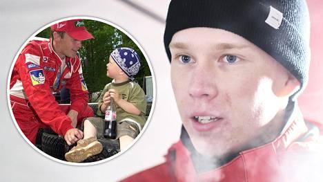 Kalle Rovanperää ja hänen isäänsä Harri Rovanperää yhdistää intohimo ralliin. Pikkukuvassa isä ja poika kuvattuna vuonna 2003.