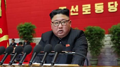 Pohjois-Korean johtaja puhui maan työväenpuoleen kongressissa perjantaina 8. tammikuuta.