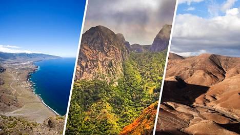 Vasemmalla El Hierron, keskellä La Gomeran ja oikealla Fuerteventuran maisemia.