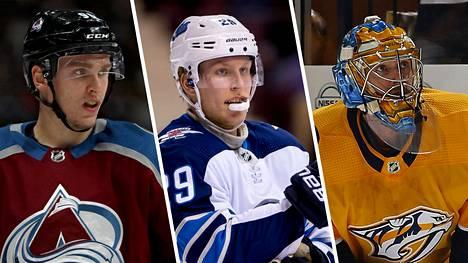 Mikko Rantanen (vas.), Patrik Laine ja Pekka Rinne loistavat NHL-tilastojen kärkipaikoilla.