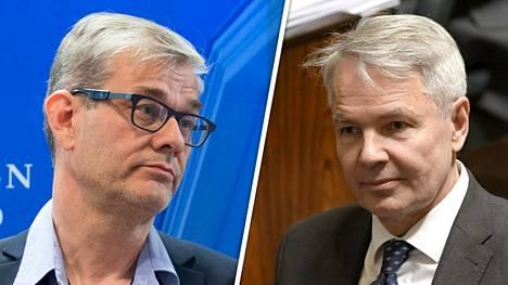 Pasi Tuominen (vas.) ei ole tyytyväinen ulkomisteri Pekka Haaviston johtamistapaan.