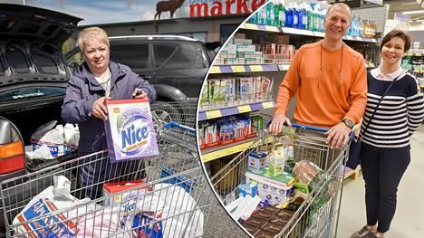 Venäläiset ovat innostuneet taas tulemaan Suomeen ostoksille. Marina Klimova (vas.) käy säännöllisesti Lappeenrannassa. –Venäläisiä juustoja ei voi syödä, ne ovat aivan kauheita, hän selittää ostosmatkailua. Myös Sergei Jefremov ja Irina Jefremova luottavat suomalaisiin tuotteisiin.