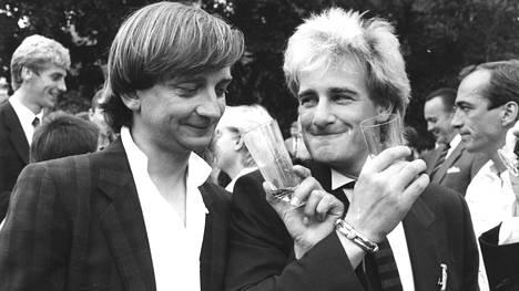 Hjallis Harkimo ja Riki Sorsa kuvattuna 1985.