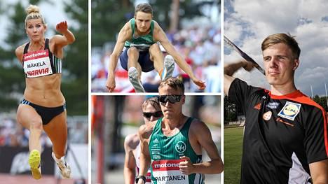 Kristiina Mäkelä, Simo Lipsanen (ylhäällä), Aku Partanen (alhaalla) ja Oliver Helander ovat Suomen suurimpia mitallikandidaatteja.