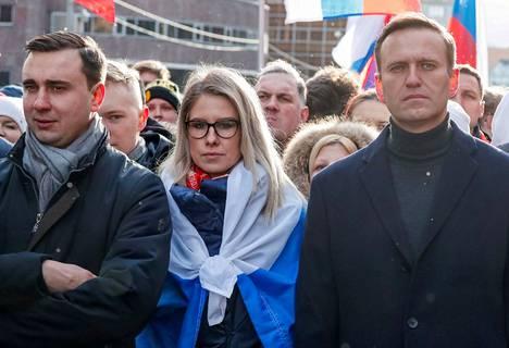 Ljubov Sobol on tehnyt Aleksei Navalnyin kanssa yhteistyötä jo reilut kymmenen vuotta. Kuva on helmikuulta 2020, ennen kuin Navalnyi yritettiin surmata hermomyrkyllä saman vuoden elokuussa.