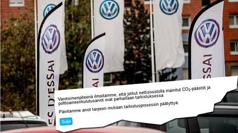 EU-komissio vaati alkuviikosta, että Volkswagen antaa selvityksen kymmenen päivän kuluessa autojensa hiilidioksidipäästöistä. Suomen Volkswagenin nettisivuilla ilmoitetaan, että jotkin tiedot saattavat olla virheellisiä.
