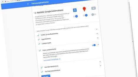 Google ottaa mielellään palvelujensa käyttäjältä ääninäytteen puheentunnistuksen helpottamiseksi. Tämän voi kytkeä pois tietosuojatarkastuksessa.
