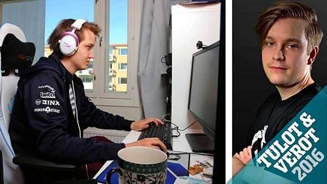 Tietokonepeli Dota 2:sta ammatikseen pelaavat Lasse Urpalainen (vasemmalla) ja Jesse Vainikka tienasivat kumpikin yli 300 000 euroa.