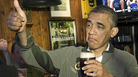 Yhdysvaltain presidentti Barack Obama on olutmiehiä. Tämä kuva on otettu Pyhän Patrickin päivänä Washingtonissa 17. maaliskuuta.