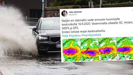 Myrsky kerää voimia Norjan ja Ruotsin yllä, mutta jysähtää Suomeen kunnolla. Myrskytuulia edeltävät kovat rankkasateet.