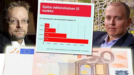 Professori Timo Rothovius teki laskelmat Jukka Oksaharjun sijoitusneuvoon.