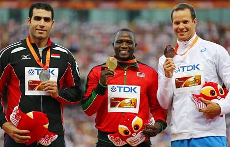 Pekingin MM-kisoissa mitalikolmikon muodostivat Ihab Abdelrahman, Julius Yego ja Tero Pitkämäki.