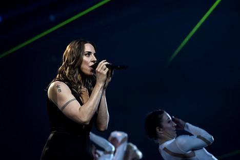 Melanie C esiintyi Saara Aallon UMK-show'ssa Suomessa vuosi sitten maaliskuussa.