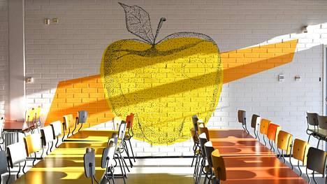 Oppilaat saivat maalata ruokalaan seinämaalauksen, mikä lisää viihtyisyyttä.