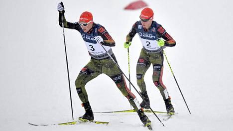 Eric Frenzel (nro 3) vei Trondheimin yhdistetyn kisan. Manuel Faist jäi kuudenneksi.