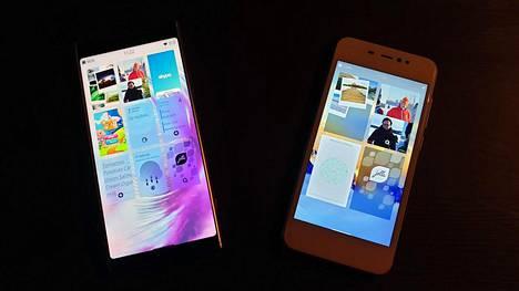 Sailfishin saa esimerkiksi Sonyn tiettyihin puhelinmalleihin (vasemmalla) tai yhtiön asiakkaiden laitteisiin. Oikealla bolivialainen Accione P.
