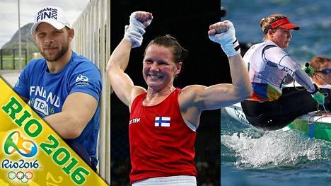 Rami Hietaniemi, Mira Potkonen ja Tuula Tenkanen ovat maanantain suomalaistoivoja.