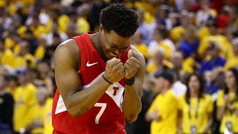 Toronto Raptorsin Kyle Lowry oli mestaruusottelussa joukkueensa paras pistemies.