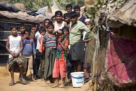 Rohingya-pakolaisia leirillä Bangladeshissa helmikuun alussa.