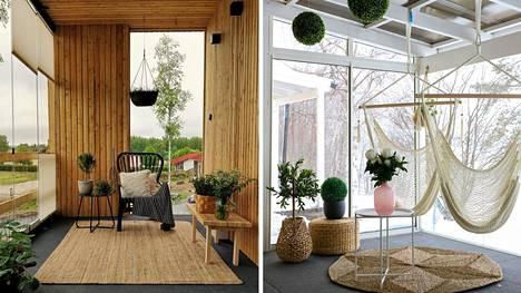 Riikka Välimäen ja Riikka Määtän terassit ovat kuin ylimääräisiä huoneita. Puulla ja riippukeinuilla sisustamalla saa ihmeitä aikaan.