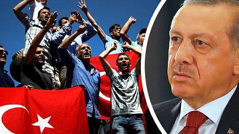Turkin presidentti Erdogan on kannattajiensa keskuudessa hyvin suosittu presidentti. Maallistuneen vallan kannattajat ovat järkyttyneitä hänen itsevaltaisista pyrkimyksistään.
