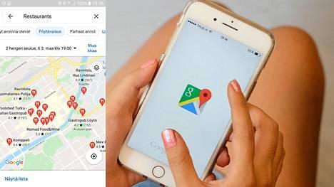 Moneen ravintolaan voi tehdä pöytävarauksen Googlen karttaohjelmistossa.