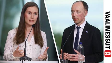 Sanna Marin ja Jussi Halla-aho.