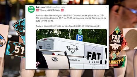 Olutpanimo ilmoitti varkaudesta välittömästi sosiaaliseen mediaan.