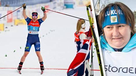Jelena Välbe (oik.) olisi halunnut nähdä Venäjän lipun naisten viestin mitalijuhlissa.